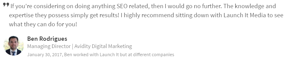 Milwaukee SEO Testimonial